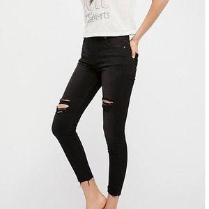 Fee People Black Skinny Distressed raw hem jeans